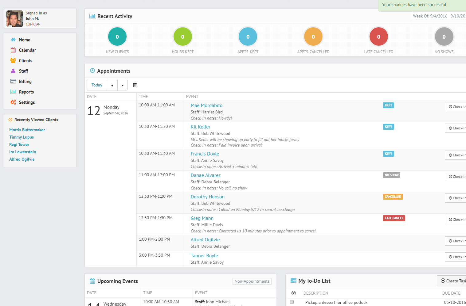 The TherapyZen dashboard provides your daily snapshot of practice activities