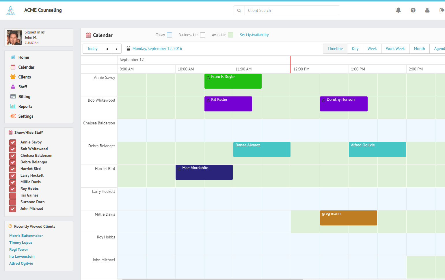 The TherapyZen calendar provides different views based on your role or the size of your practice