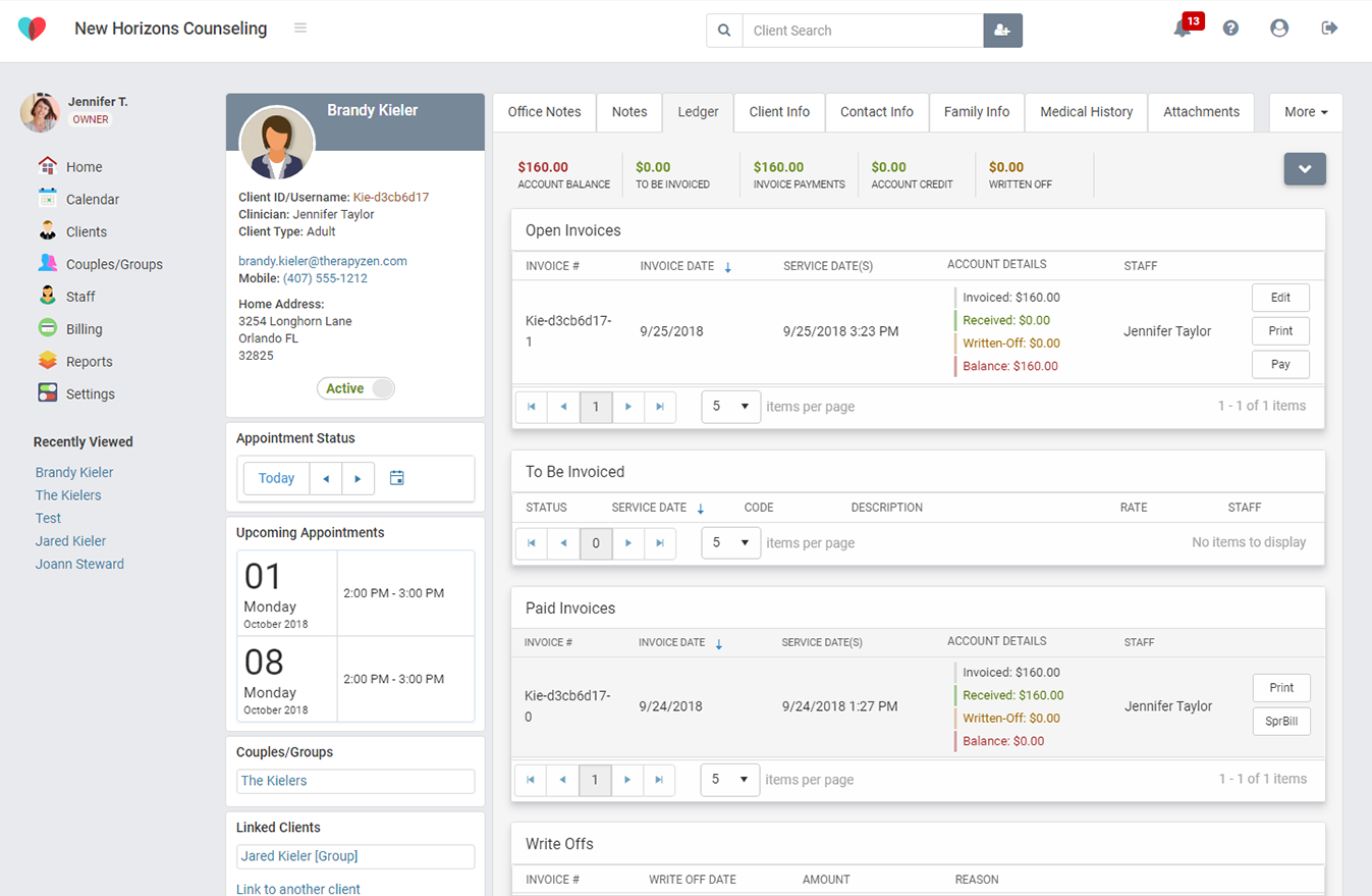 The TherapyZen client ledger makes invoicing simpler than ever