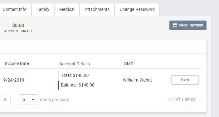 Clients can easily pay invoices in the portal using TherapyZen