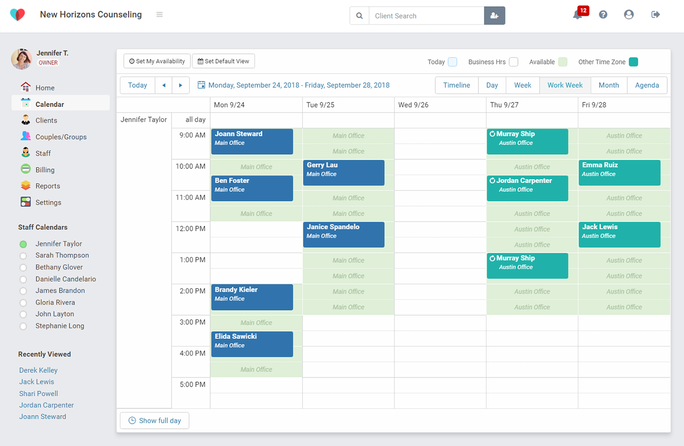 Easy appointment scheduling for therapists in TherapyZen