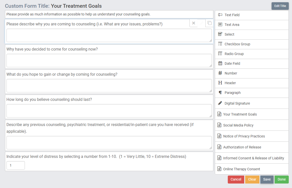 create your own custom intakes and forms in therapyzen