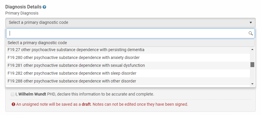Insert DSM and IDC diagnosis codes when creating a treatment plan in TherapyZen